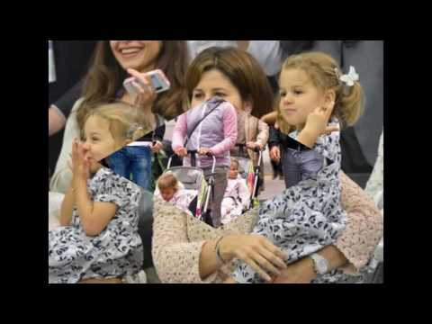 Galerry Roger and Mirka Federer's son cries during Australian Open Kids Tennis