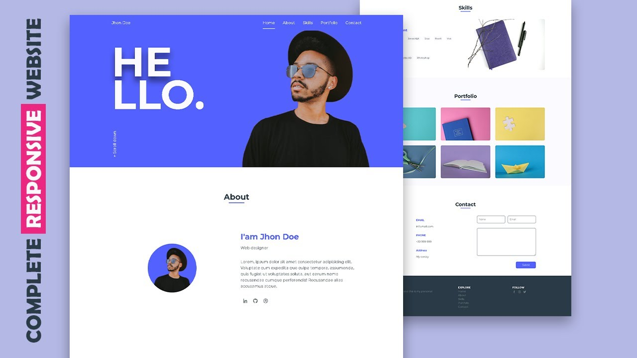 Responsive Personal Portfolio Website Using HTML CSS & JS   Complete Website From Scratch
