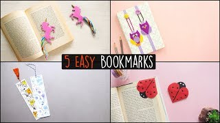 5 Easy DIY Bookmarks | Back to School | Paper Craft