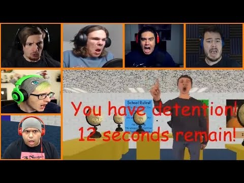 Let's Players Reaction To Getting Detention   Baldi's Basics In Education And Learning