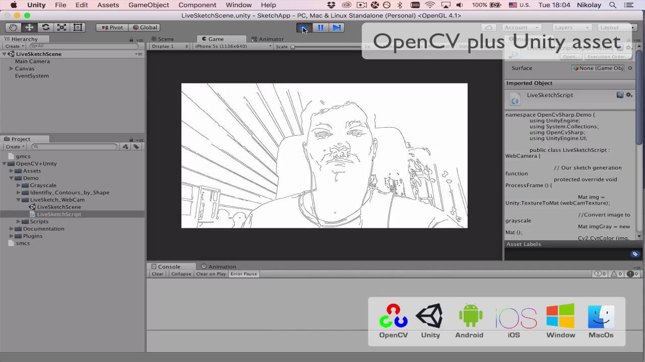 OpenCV plus Unity Sketch App