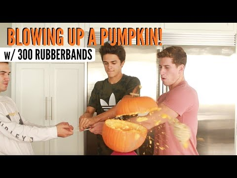 BLOWING UP A PUMPKIN with 300 Rubber Bands! | Brent Rivera