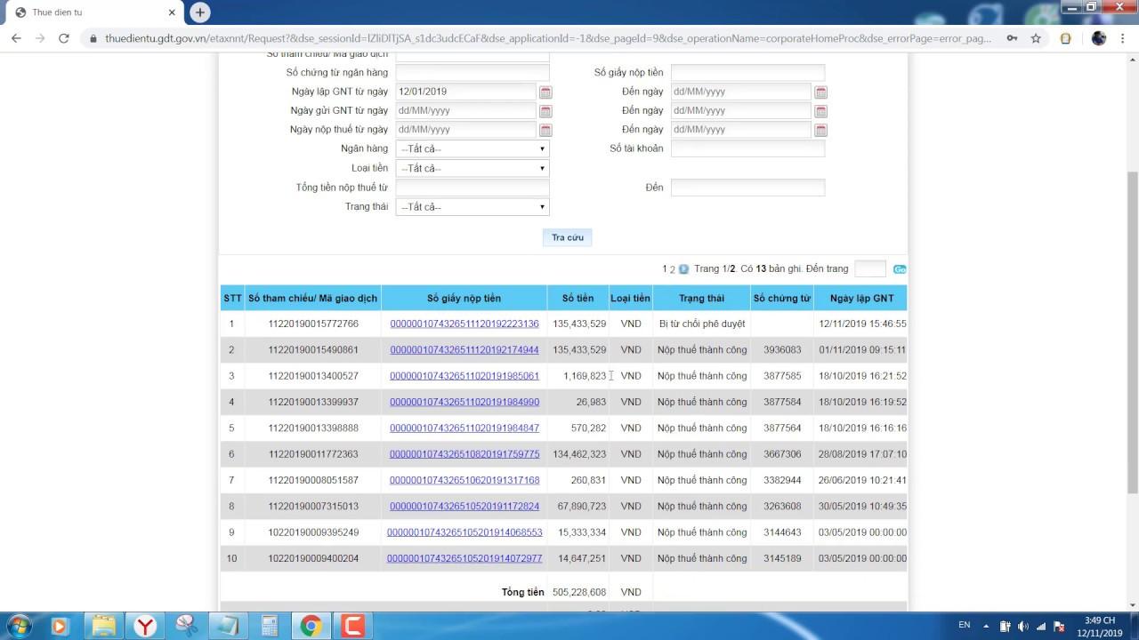 Hướng dẫn nộp thuế trên trang thuế điện tử