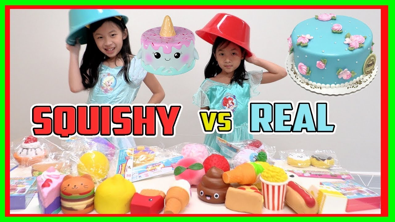 Squishy Toys Vs Real Food : SQUISHY FOOD vs REAL FOOD CHALLENGE 3! FUN SQUISHY vs GROSS FOOD? (FunTV) - YouTube