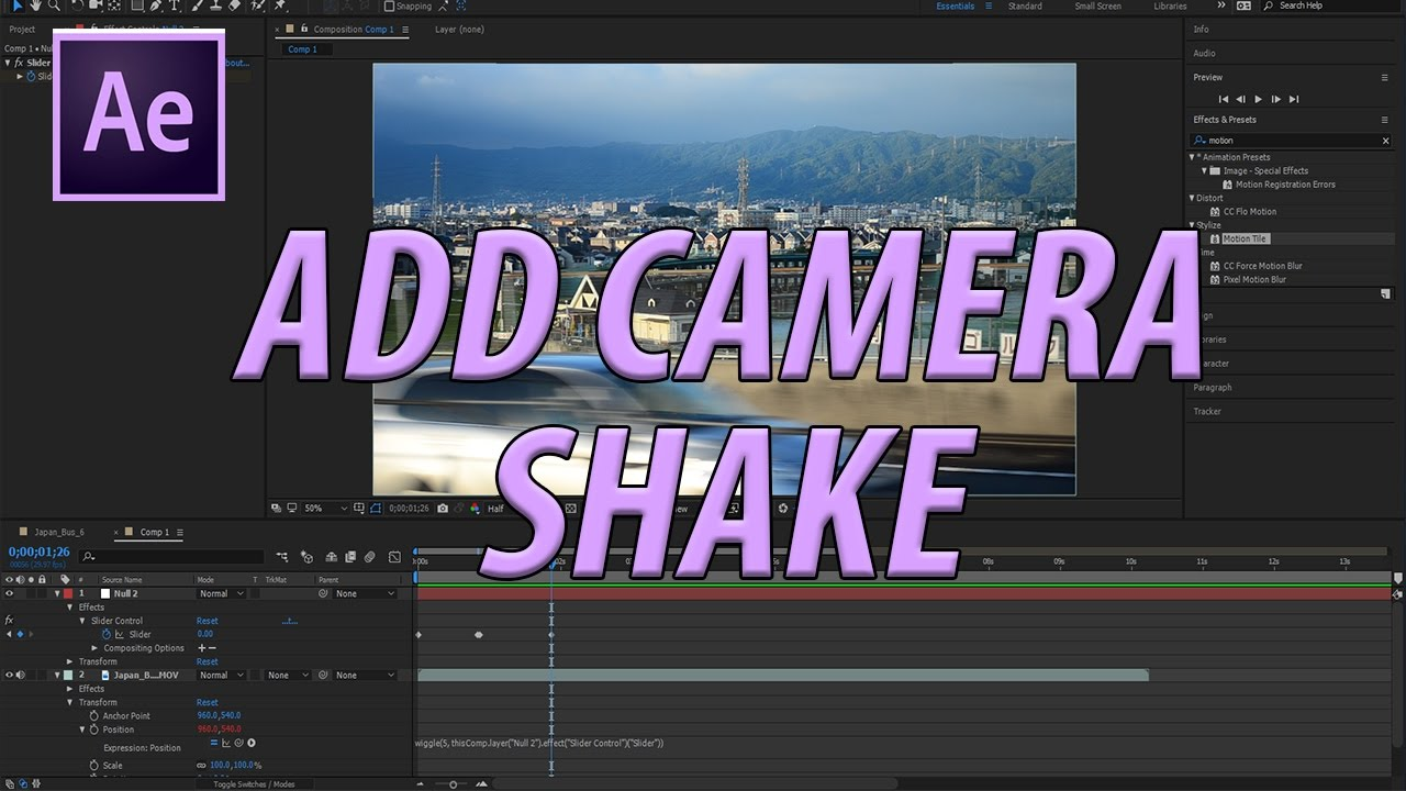 How to Add Camera Shake in Adobe After Effects CC (2017)
