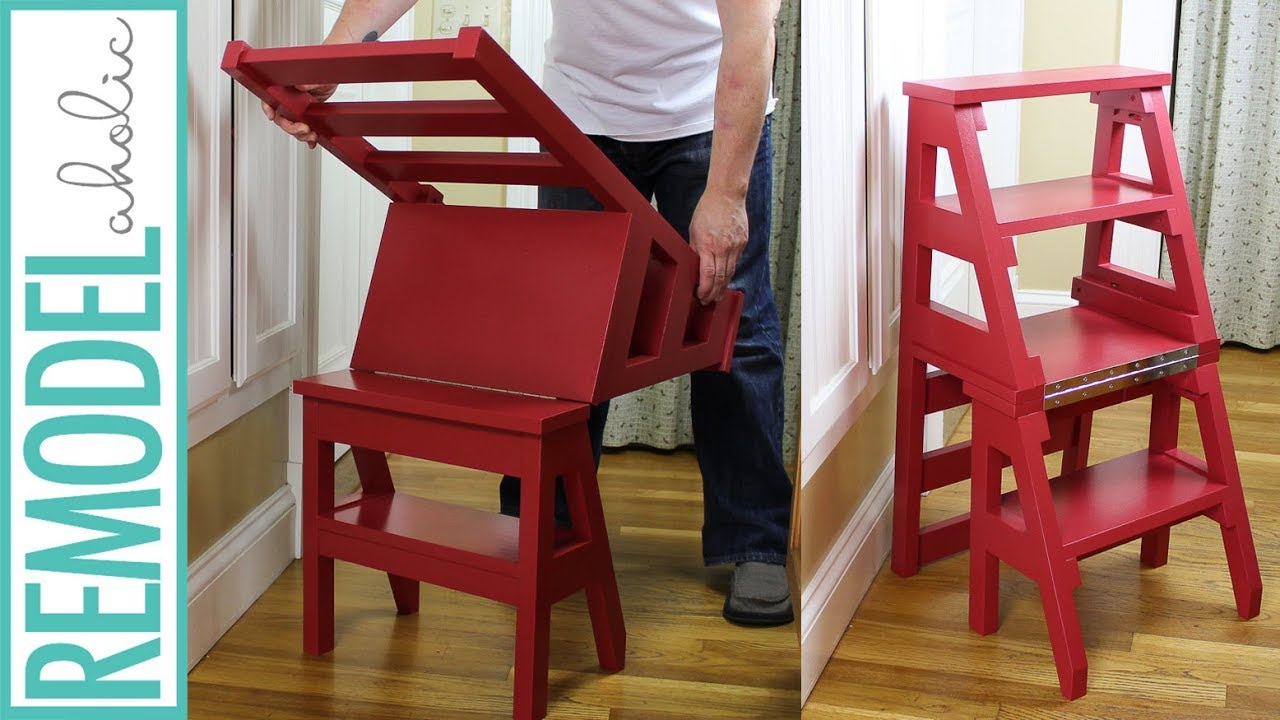 wooden step stool chair wedding covers huntingdon how to build a diy ladder space saving multipurpose folding