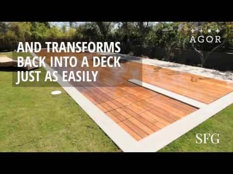 This deck doubles as a swimming pool youtube - Covering a swimming pool with decking ...