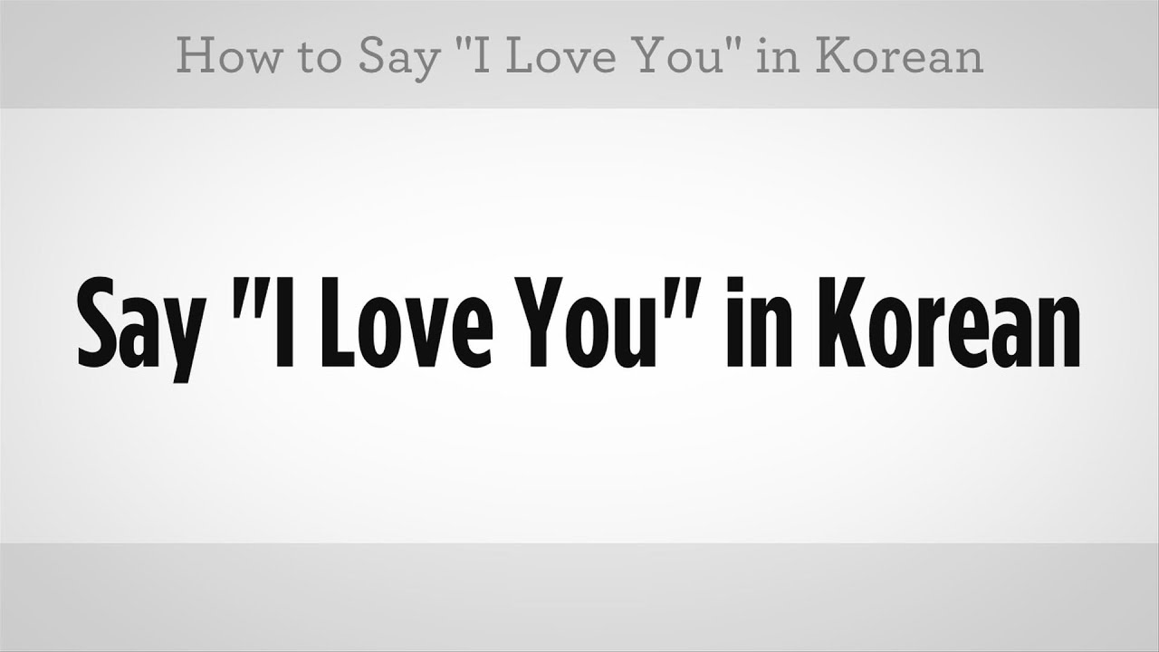 """How to Say """"I Love You""""  Learn Korean"""