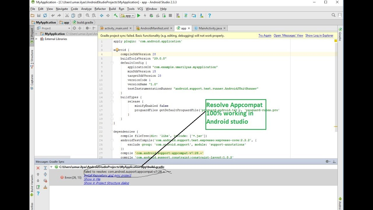how to resolve appcompatactivity v7:28  error in android studio