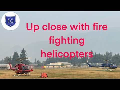 Up Close With Fire Fighting Helicopters in a Base Ball Field Walk Around and Take Off (Sicamous BC)