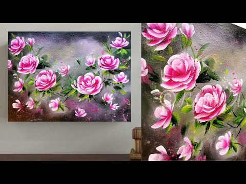 SIMPLE Roses Acrylic Painting Techniques / EASY & BEAUTIFUL Canvas painting for beginners