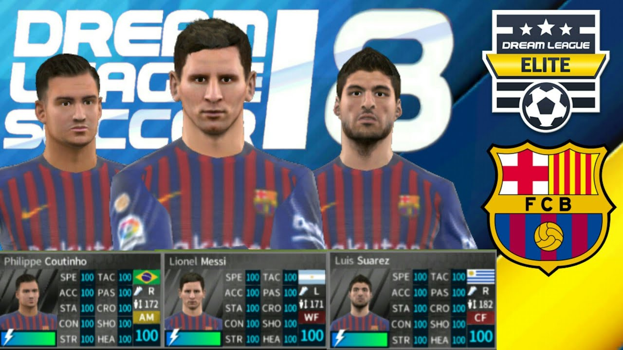 FC BARCELONA 2018-19 All Players 100 Dream League Soccer 2018 NEW UPDATE -  ELITE DIVISION