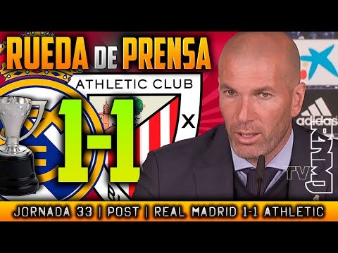 Real Madrid 1-1 Athletic Club RUEDA DE PRENSA de ZIDANE (18/04/2018) | POST LIGA JORNADA 33
