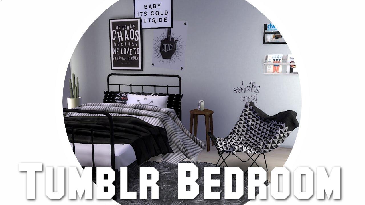 The Sims 4 Speedbuild Tumblr Bedroom Full Cc List Youtube