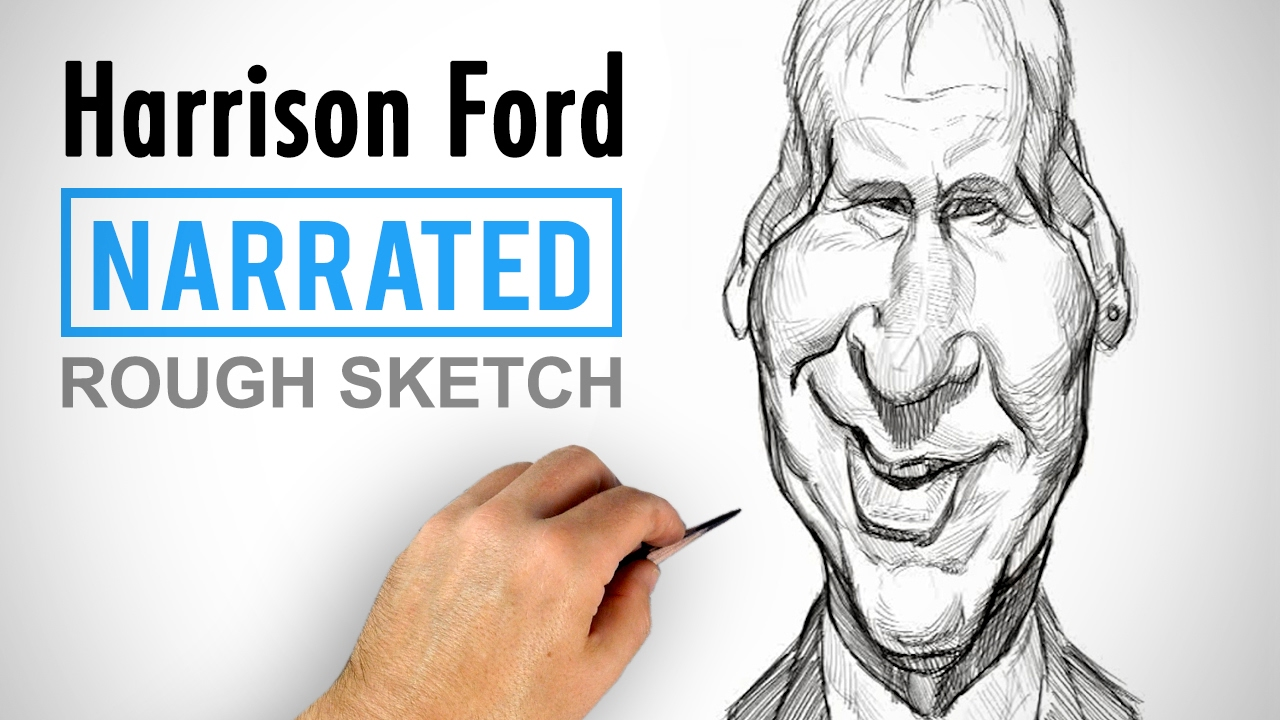 drawing harrison ford caricature sketch example youtube