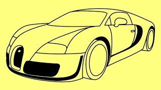 How to draw a car Bugatti Veyron Fast and Furious 7 step by step - Как нарисовать Бугатти Вейрон