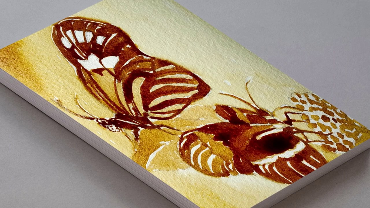 Coffee Painting For Beginners How To Draw Butterfly Using Coffee Butterflies Coffee Art Tutorial Youtube