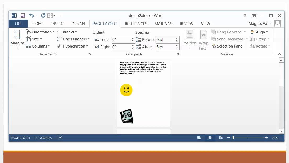 Page Layout Tab MS Word 2013