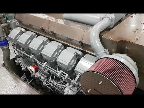 Mitsubishi Marine Diesel Engine S12R-MPTA Start Up After Complete Overhaul MTS Sovereign