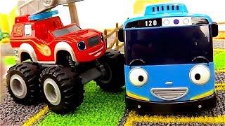 Juguetes de Blaze y Peppa Pig - Camiones monstruos - Tayo el Pequeño Autobús quiere ser bombero
