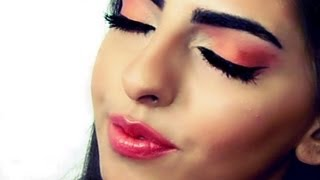An Orange/peach makeup for brown eyes,/مكياج للعيون البنية