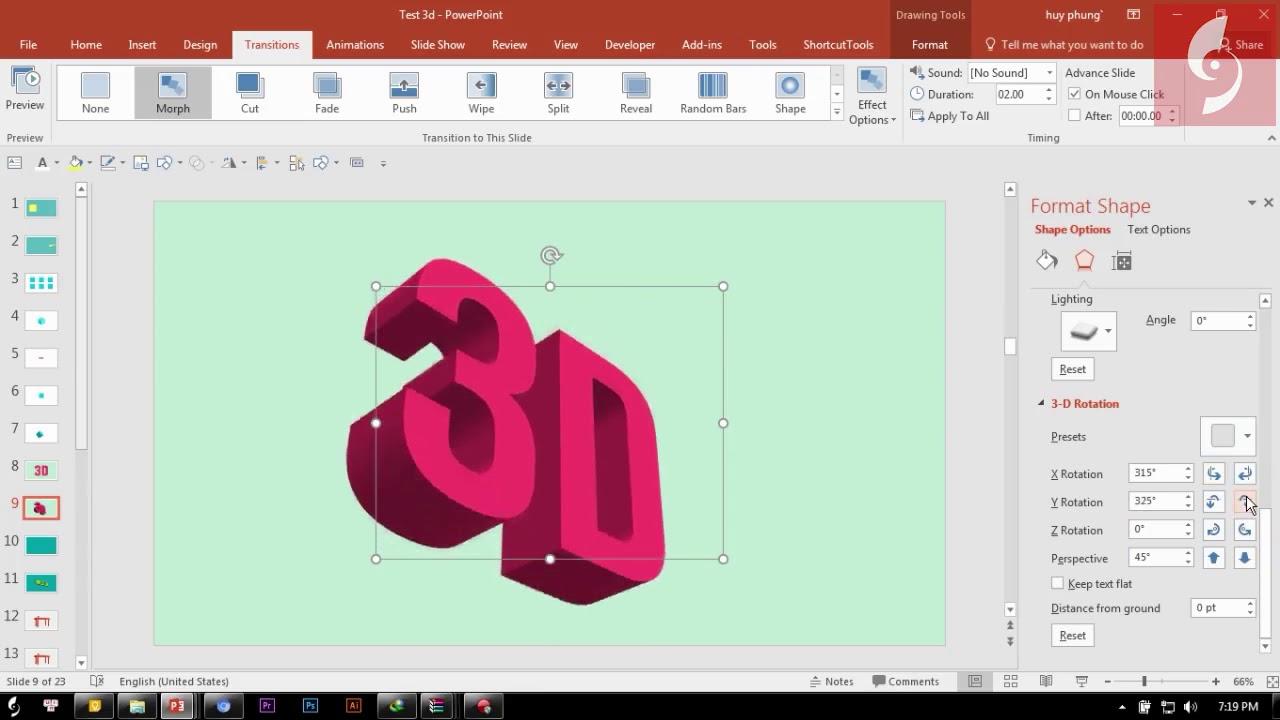 Khám phá tính năng 3D trên Powerpoint