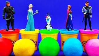 Play-Doh Surprise Eggs Disney Frozen Anna Elsa Olaf Hans Kristoff Minnie Mouse Spongebob FluffyJet