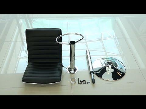 iKayaa 2PCS/Set of 2 PU Leather Pneumatic Swivel Bar Stools Chairs Height Adjustable
