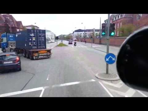 Onboard Truck cam Tuborg vej heading to Norway ship port Copenhagen Denmark