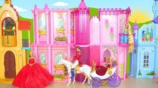 Princess Barbie Doll Crystal Royal Castle - New Horse & Carriage Prinzessin Schloss Kastil putri