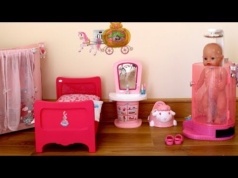 Thumbnail: Baby Dolls Bedroom Bathroom Baby Born Rain Fun Shower Evening Routine