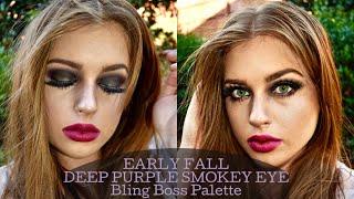 EARLY FALL MAKEUP - DARK PURPLE SMOKEY EYE | Bling Bloss Palette by Morphe x Jaclyn Hill Vault