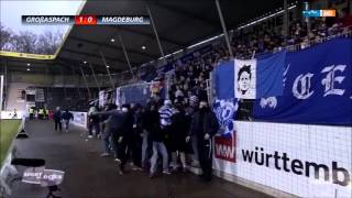 Magdeburg fans break the fence due of banner, which took security 21.11.2015