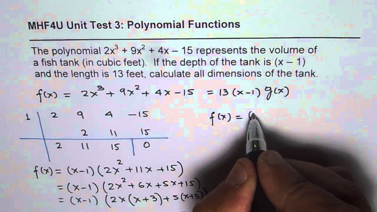 Fish tank dimensions - Find Possible Fish Tank Dimensions Application Of Polynomial Division