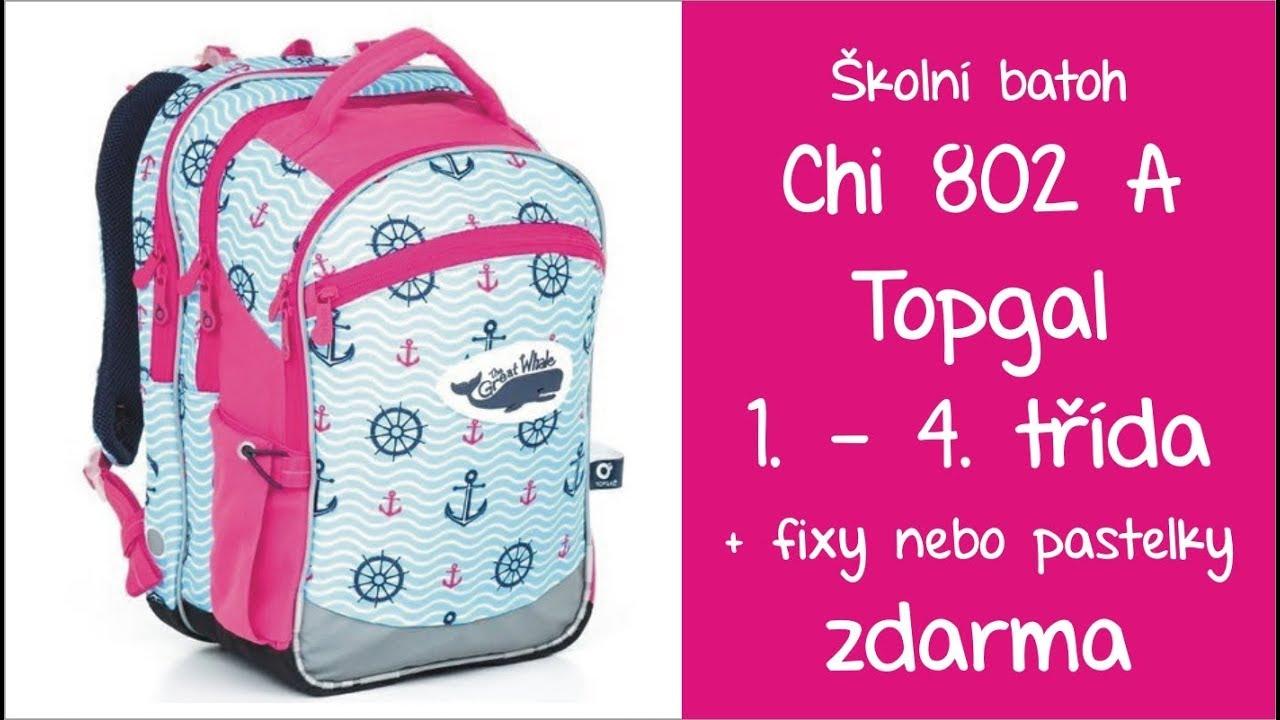 CHI 802 H Topgal školní batoh dívčí pro 1. - 4. třídu - YouTube 087cad3652