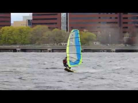 Windsurfer on a very windy Charles River