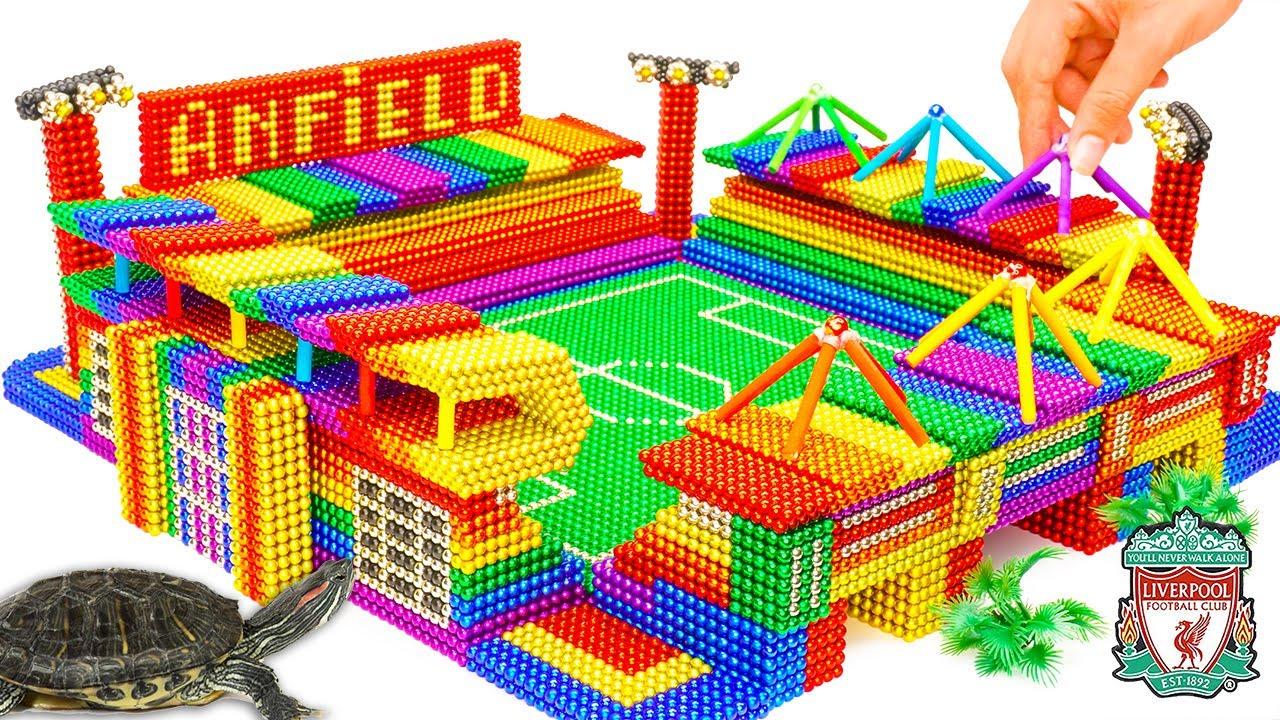 DIY - Build Amazing Liverpool Anfield Stadium Turtle Tank Aquarium With Magnetic Balls (Satisfying)
