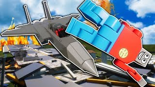 Lego Airplane Crashes into a Bridge Full of Cars! - Brick Rigs Gameplay