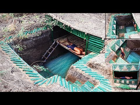 Build underground bamboo house , underground bamboo pool