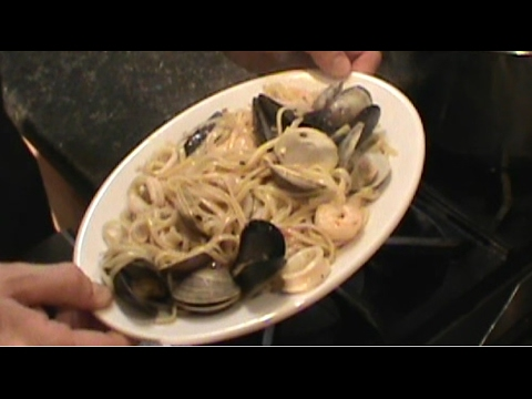 Seafood Linguine With Garlic White Wine Butter Sauce