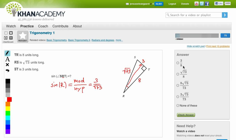 Khan Academy: Trigonometry 1 - Sinus, cosinus og tangens af vinkel i retvinklet trekant