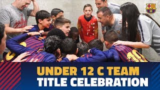Barça U-12 Cs sing chant after league championship