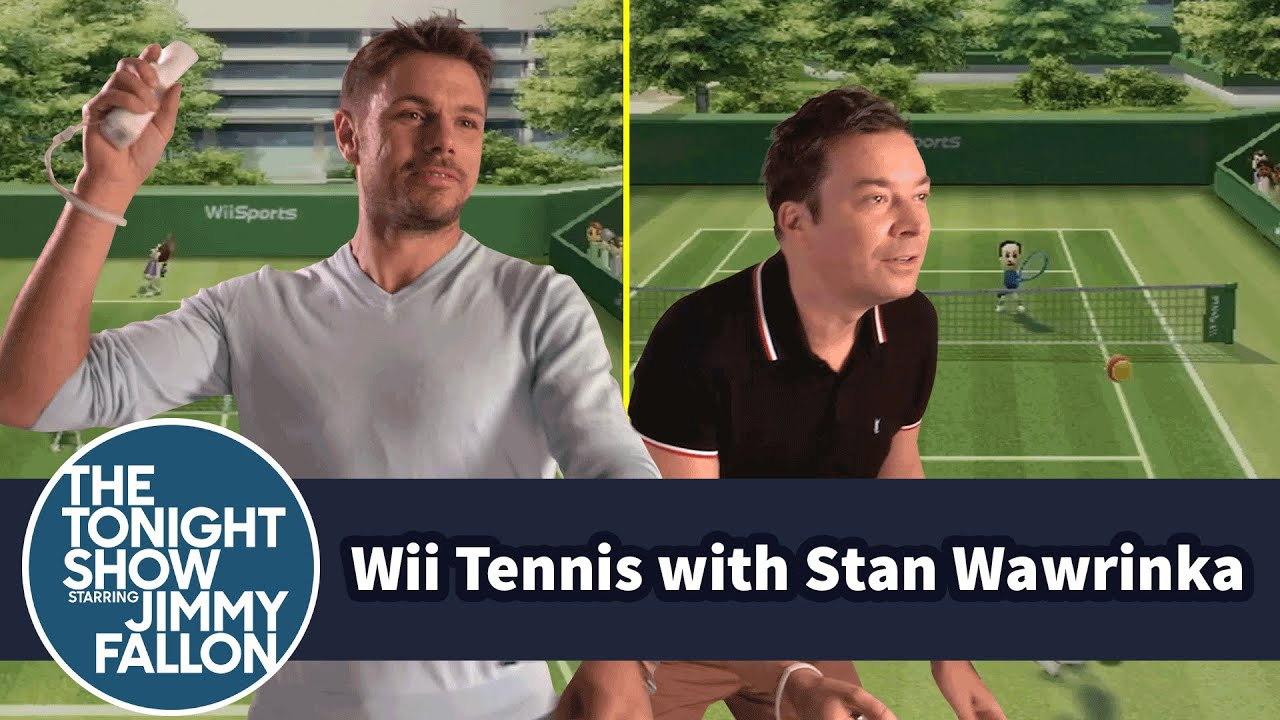 Џими Фелон игра тенис против Станислас Вавринка