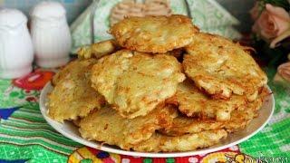 Картофельные оладьи с курицей и луком