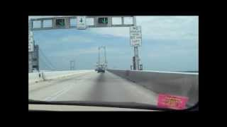 A trip across the Chesapeake Bay Bridge. チェサピークベイ橋で運転し...