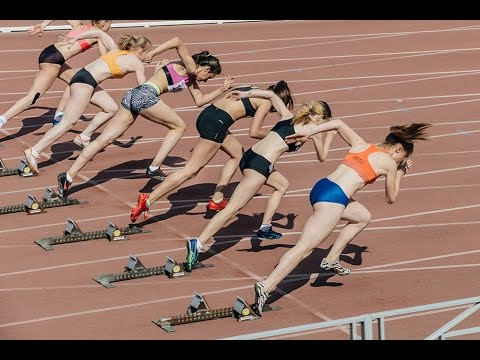 Women Athletes Start And Run At Sprint Competitions Stadium