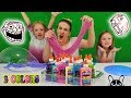 3 Colors of Glue Slime Challenge w/ My Little Sister!! Glitter & Glow in the Dark Elmers Glue Slime!