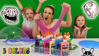 3 Colors of Glue Slime Challenge w/ My Little Sister!! Glitter & Glow in the Dark Elmers Glue Slime! Mp3