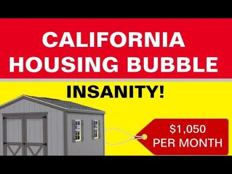 California Housing Bubble - Tiny Spaces Big Prices $1,000 Month Bunk Beds and Sheds