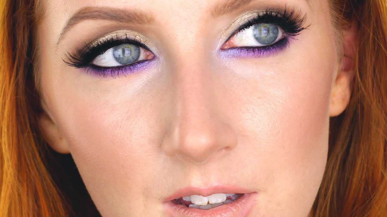 sexy smokey eye makeup purple and golden shimmer youtube. Black Bedroom Furniture Sets. Home Design Ideas